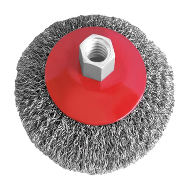 Bevel brush 115 mm, for angle grinder, M14 (crimped wire) INTERTOOL BT-5115