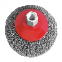 Bevel brush 125 mm, for angle grinder, M14 (crimped wire) INTERTOOL BT-5125