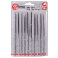10 pcs needle files set, 140 mm, without handles INTERTOOL HT-3707