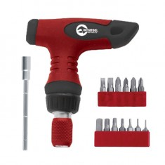T-handle ratchet screwdriver mini + 15 bits, split terminal INTERTOOL VT-1016