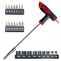 T-handle screwdriver + 25 bits INTERTOOL HT-0422