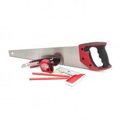 6 pcs joiner's tools set (hand saw, knife, tape, pencils, square) INTERTOOL HT-3157: фото 3