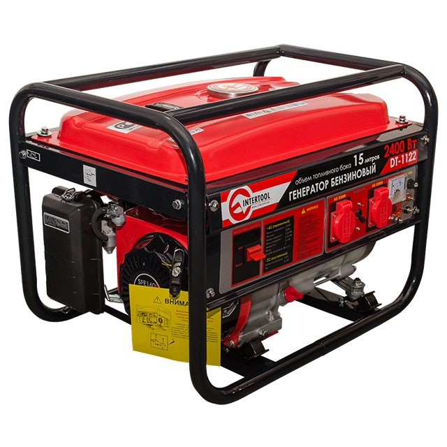 Gasoline generator max power 2.4 kW, rated power 2.2 kW, 5.5 Hp, 4 stroke, manual start, 40.7 kg INTERTOOL DT-1122