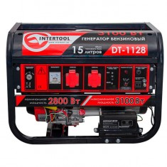 Gasoline generator max power 3.1 kW, rated power 2.8 kW, 6.5 Hp, 4 stroke, manual and power start, 51.7 kg INTERTOOL DT-1128: фото 2