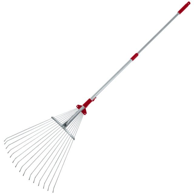 Wire-tooth rake, 15 teeth, telescopic metal handle, adjustable working area INTERTOOL FT-3007