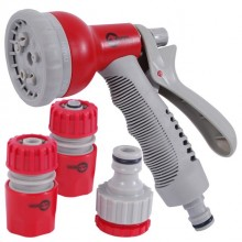 "8-pattern plastic spray gun and hose fittings set; 1/2"" hose connector, 1/2"" waterstop hose connector,1/2&3/4"" tap adaptor INTERTOOL GE-0002"