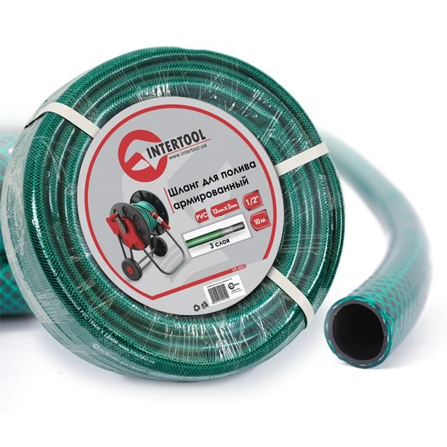 "Garden hose, 3 layers 1/2"", 10 m, PVC, reinforced INTERTOOL GE-4021"